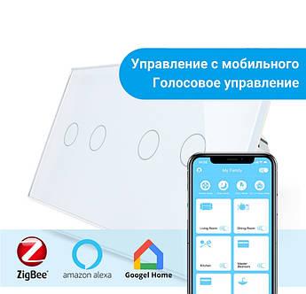 Сенсорный Wi-Fi выключатель Livolo ZigBee 4 канала (2-2) белый стекло (VL-C702Z/C702Z-11)