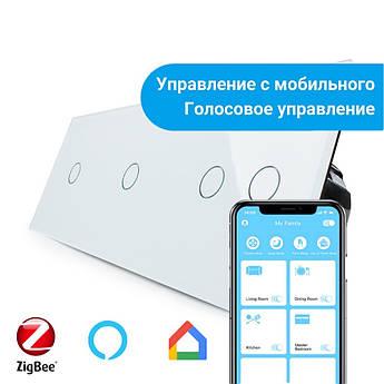 Сенсорный Wi-Fi выключатель Livolo ZigBee 4 канала (1-1-2) белый стекло (VL-C701Z/C701Z/C702Z-11)
