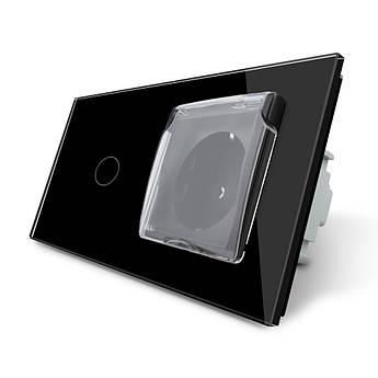Сенсорный выключатель Розетка с крышкой IP44 Livolo черный стекло (VL-C701/C7C1EUWF-12)
