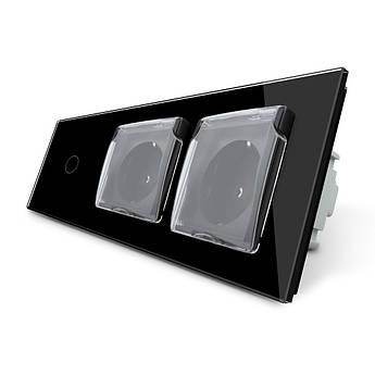 Сенсорный выключатель Двойная розетка с крышкой IP44 Livolo черный стекло (VL-C701/C7C2EUWF-12)