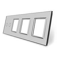 Сенсорная панель выключателя Livolo 2 канала и трех розеток (2-0-0-0) серый стекло (VL-C7-C2/SR/SR/SR-15), фото 1