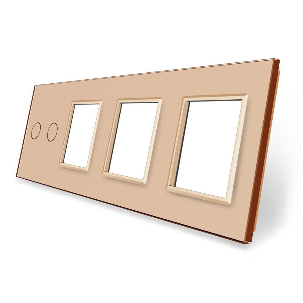 Сенсорная панель выключателя Livolo 2 канала и трех розеток (2-0-0-0) золото стекло (VL-C7-C2/SR/SR/SR-13)
