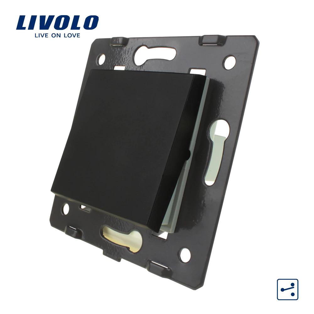 Механізм клавішний механічний прохідний вимикач Livolo чорний (VL-C7K1S-12)