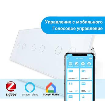 Сенсорный Wi-Fi выключатель Livolo ZigBee 6 каналов (2-2-2) белый стекло (VL-C702Z/C702Z/C702Z-11)