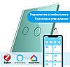 Сенсорный Wi-Fi выключатель Livolo ZigBee 2 канала зеленый стекло (VL-C702Z-18)