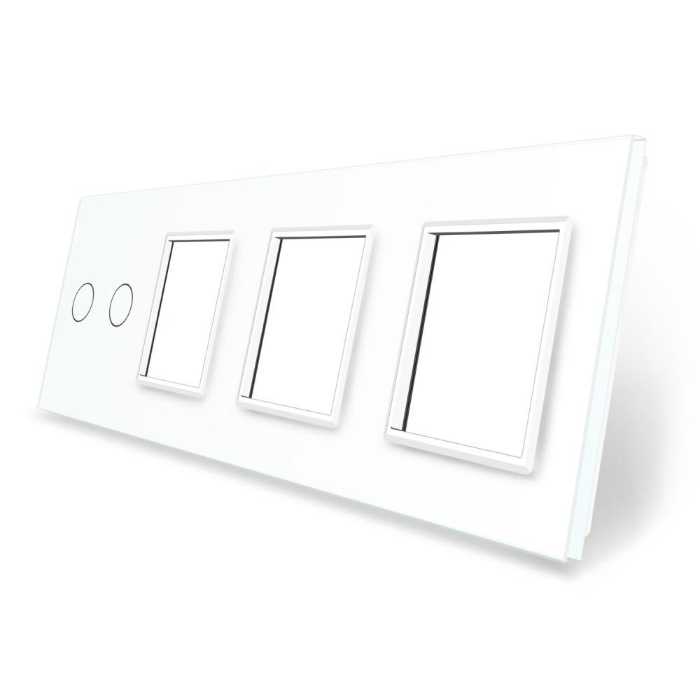 Сенсорная панель выключателя Livolo 2 канала и трех розеток (2-0-0-0) белый стекло (VL-C7-C2/SR/SR/SR-11)