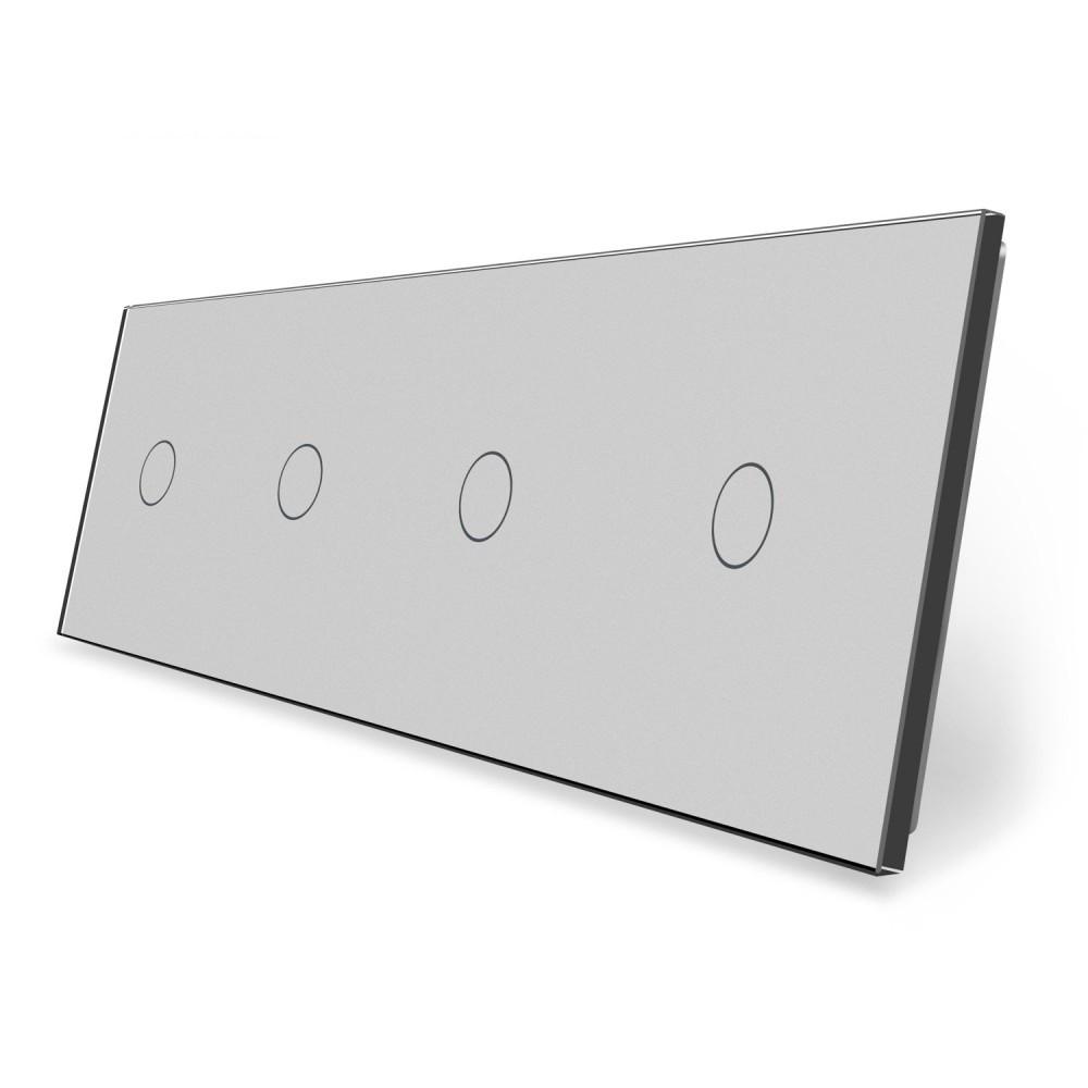 Сенсорная панель выключателя Livolo 4 канала (1-1-1-1) серый стекло (VL-C7-C1/C1/C1/C1-15)
