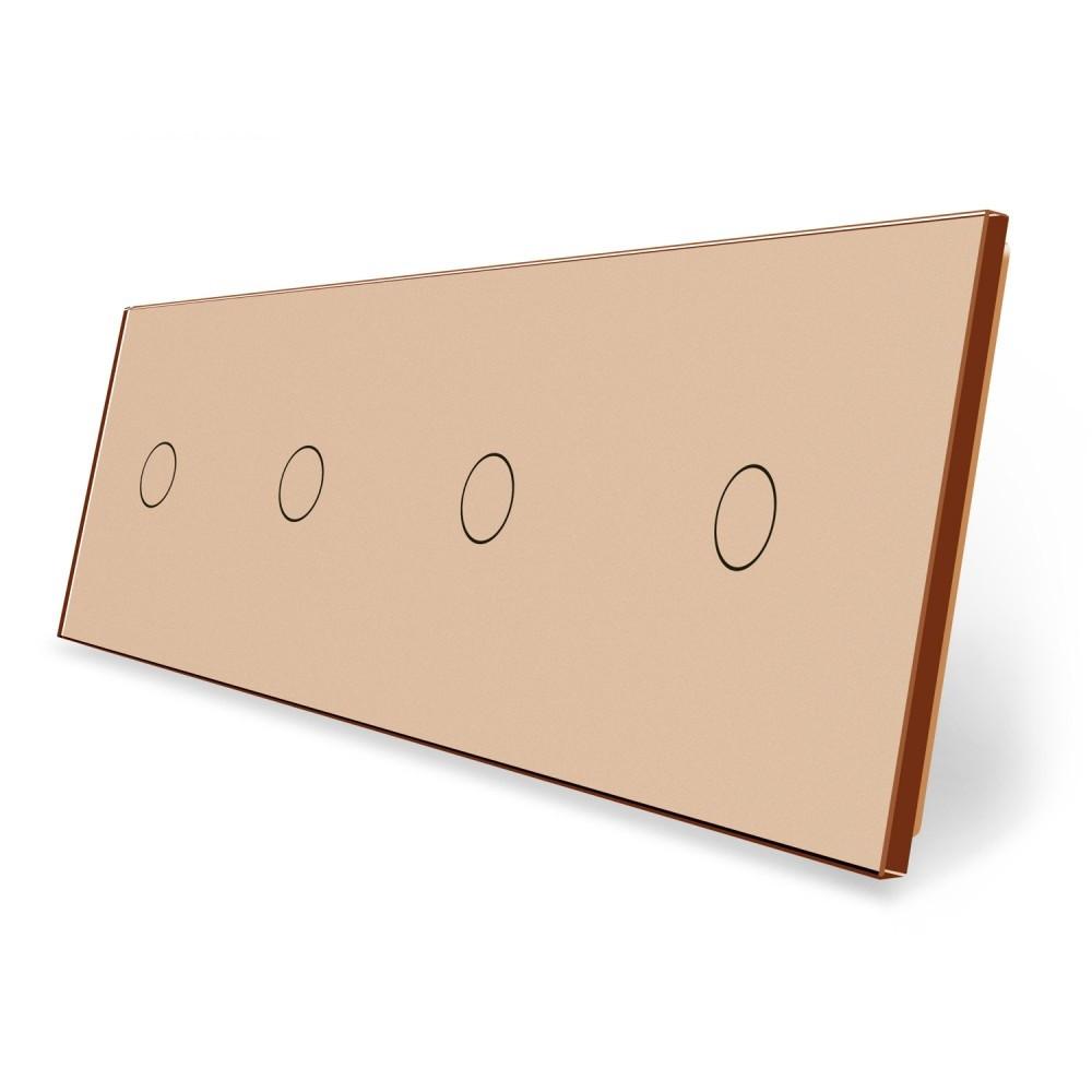 Сенсорна панель вимикача Livolo 4 канали (1-1-1-1) золото скло (VL-C7-C1/C1/C1/C1-13)