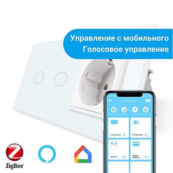 Сенсорный Wi-Fi выключатель Livolo ZigBee 2 канала с розеткой белый стекло (VL-C702Z/C7C1EU-11)