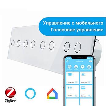 Сенсорный Wi-Fi выключатель Livolo ZigBee 8 каналов (2-2-2-2) белый стекло (VL-C708Z-11)