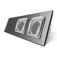 Сенсорный выключатель Двойная розетка с крышкой IP44 Livolo серый стекло (VL-C701/C7C2EUWF-15)