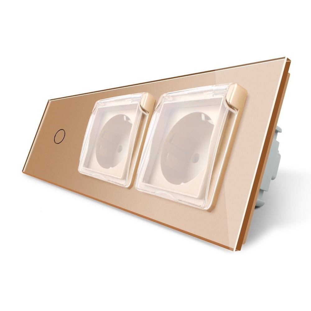 Сенсорный выключатель Двойная розетка с крышкой IP44 Livolo золото стекло (VL-C701/C7C2EUWF-13)