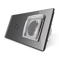 Сенсорный выключатель Розетка с крышкой IP44 Livolo серый стекло (VL-C701/C7C1EUWF-15), фото 1