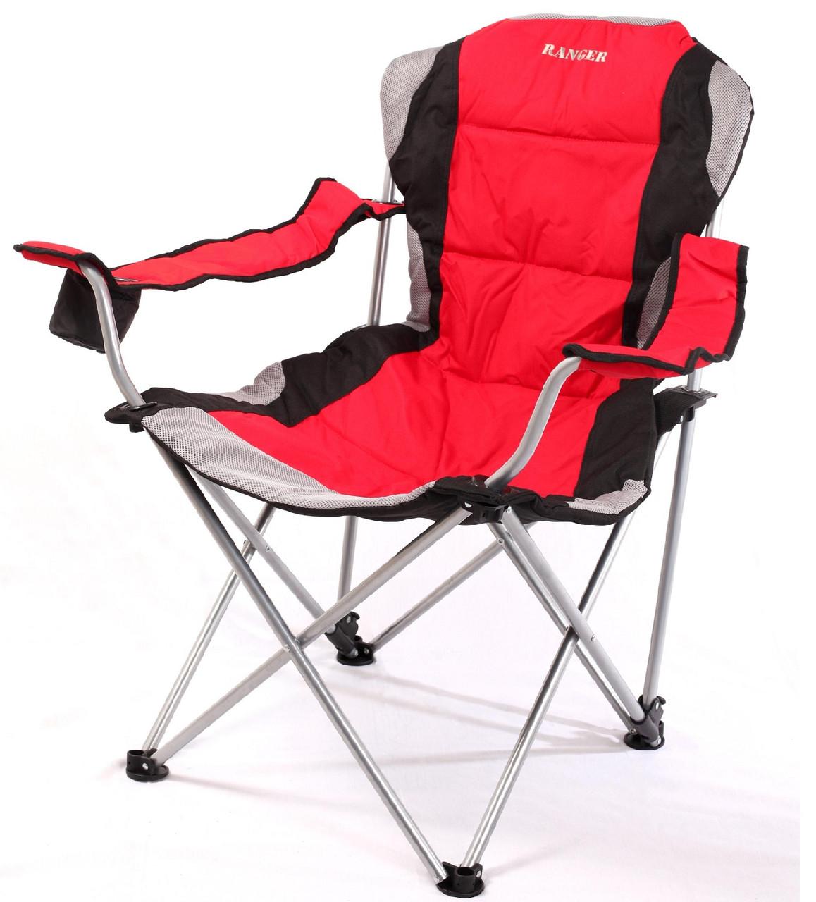 Кресло — шезлонг складное для дачи природы пикника Ranger FC 750-052 до 140 кг нагрузки красно/черное
