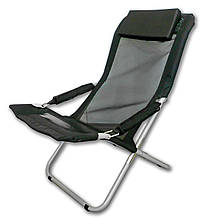 Шезлонг раскладной туристический Ranger Comfort 2 до 140 кг нагрузки 4 положения черно/серый