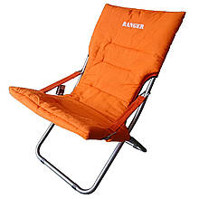 Шезлонг раскладной Ranger Comfort 4 для дачи пляжа до 120 кг нагрузки оранжевый