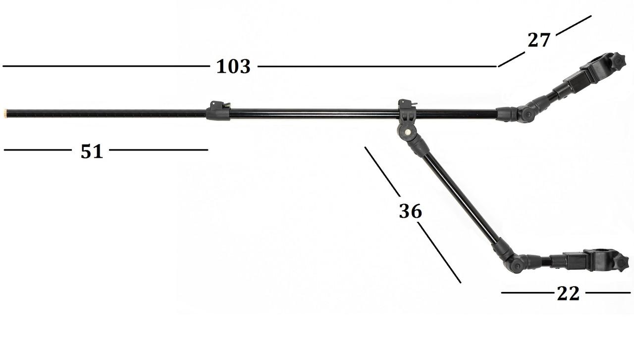 Тримач телескопічний для вудилища Ranger Feeder Arm Double 80-130 см метал/пластик чорний