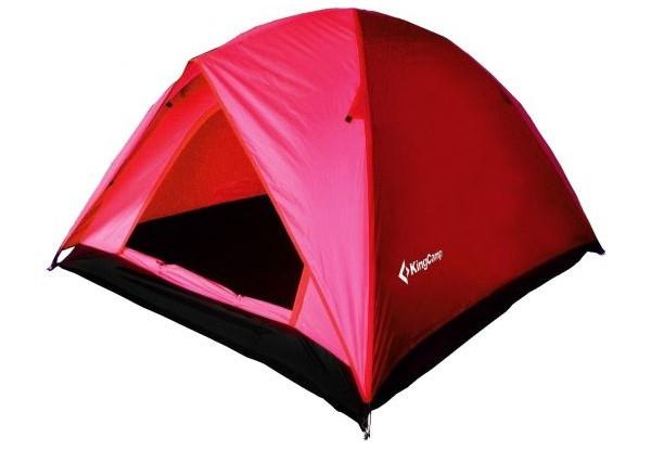 Палатка туристична тримісна KingCamp Family 3 двошарова red