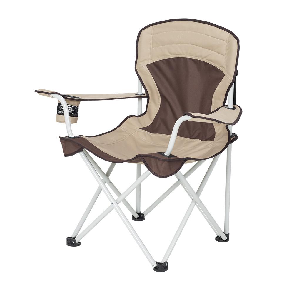 """Кресло раскладное для рыбалки природы пикника """"Берег"""" до 100 кг нагрузки Коричневый-беж"""