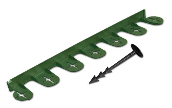 Бордюр газонный садовый PALISGARDEN 75м, набор-125 элементов/60 см*38мм+300 колышков GeoPEG, зеленый Польша