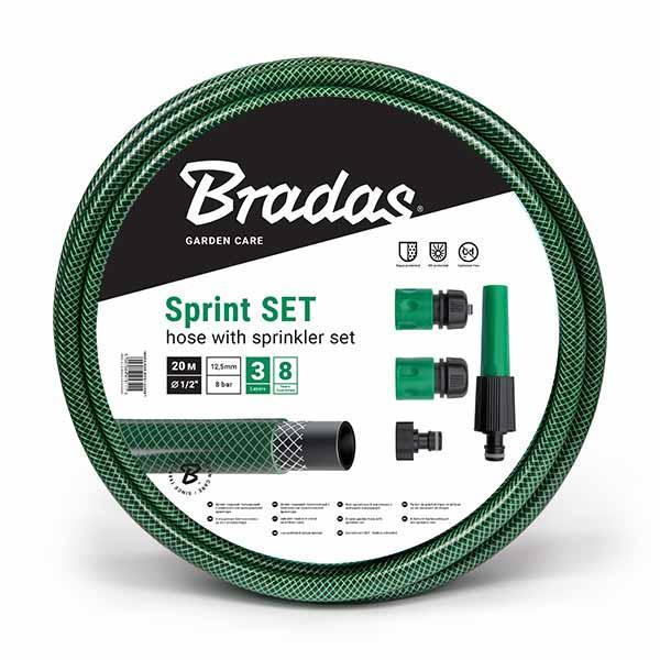 """Шланг для полива SPRINT 1/2"""" 30м + набор - орситель рег., коннектор STOP и STANDART, адаптер, WFS1/230SET"""