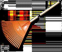 Грабли садовые веерные - 22 зубца, черенок деревянный, KT-CX22H