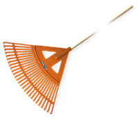 Грабли садовые веерные - 27 зубцов, черенок деревянный, KT-CX27W Польша