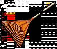 Грабли садовые веерные - 24 зубца, черенок деревянный, KT-CX24B Польша