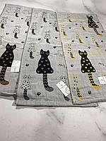 Полотенце кухонное лен Р.р 35*70 см (Кот+сердечки)