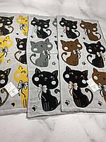 Полотенце кухонное лен Р.р 35*70 см (Большой кот)