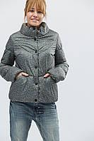 """Женская демисезонная куртка серая с принтом """"48"""" (18692.1.1)"""