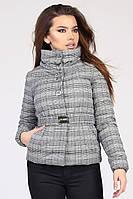 """Женская демисезонная куртка черно-белая клетка """"44"""" (18747.1.1)"""