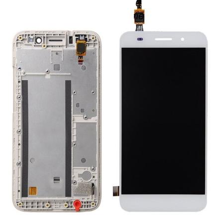 Дисплей (экран) для Huawei Y3 2017 CRO-L22 с сенсором (тачскрином) и рамкой белый Оригинал