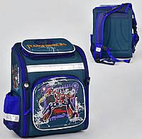 Рюкзак школьный каркасный N 00183 Синий с принтом Оптимус Прайм 1 отделение, 4 кармана, спинка ортопедическая