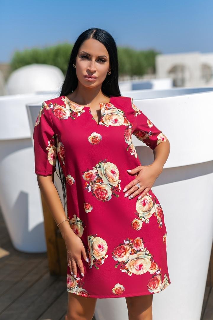 Сукня вільного А - крою в великий квітковий принт, 2цвета, Р-н. 46,48,50,52 Код 889В