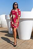 Сукня вільного А - крою в великий квітковий принт, 2цвета, Р-н. 46,48,50,52 Код 889В, фото 3
