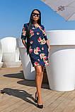 Сукня вільного А - крою в великий квітковий принт, 2цвета, Р-н. 46,48,50,52 Код 889В, фото 4