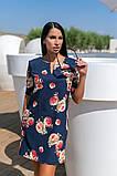 Сукня вільного А - крою в великий квітковий принт, 2цвета, Р-н. 46,48,50,52 Код 889В, фото 5