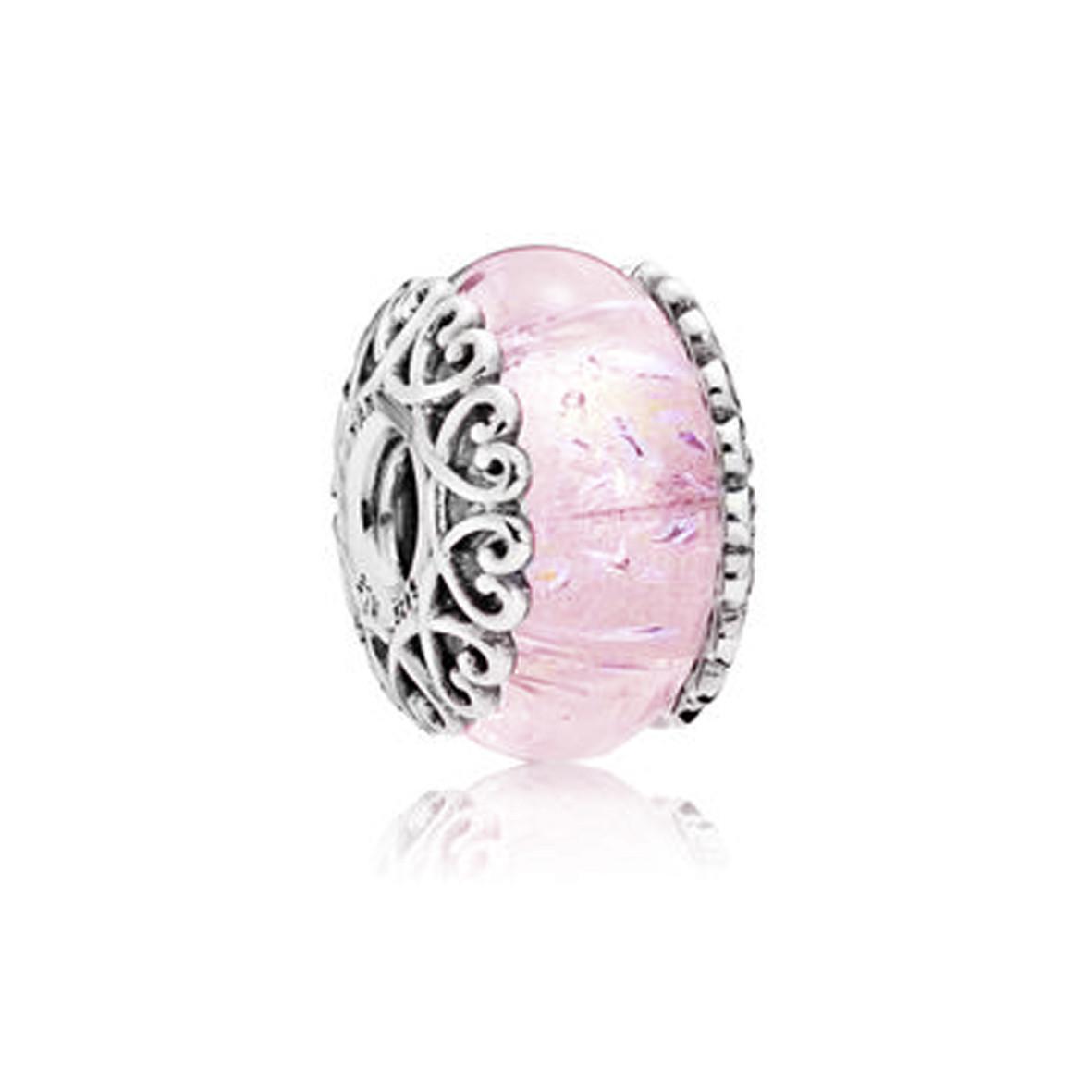 Шармы пандора серебро Розовое мурано