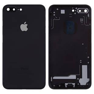Корпус для iPhone 7 Plus, с держателем SIM-карты, с боковыми кнопками, черный, глянцевий