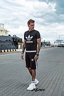 Стильный летний мужской спортивный костюм Adidas шорты и футболка чёрный 48 50 52 54