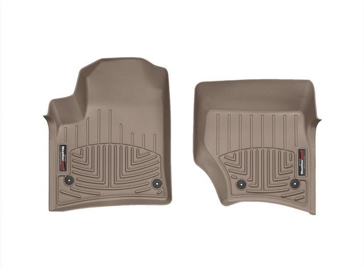 Ковры резиновые WeatherTech VW Touareg  2002-2010  передние бежевые  ( круглый крепеж )
