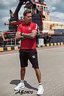 Стильный летний мужской спортивный костюм Adidas шорты и футболка красный 48 50 52 54
