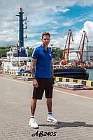 Стильный летний мужской спортивный костюм Adidas шорты и футболка синий 48 50 52 54
