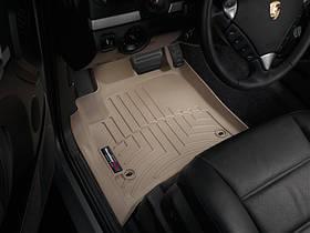 Ковры резиновые WeatherTech Porsche Cayenne 2003-2010 передние бежевые ( овальный крепеж )