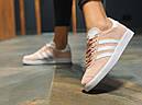 Кроссовки женские Adidas Gazelle замшевые персиковые спортивные, фото 4