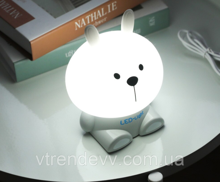Светодиодный ночник настольный лампа Fashion Table Lamp Зайчик OLOEY EL-543-17 Серый-Silver