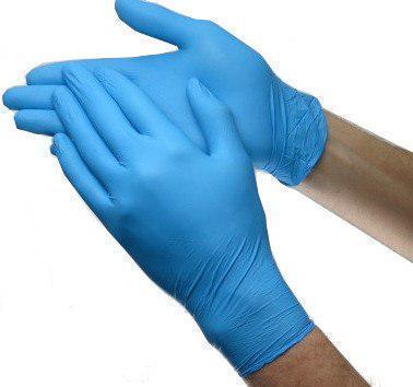 Перчатки нитриловые 100 штук в упаковке, размер L (голубые)