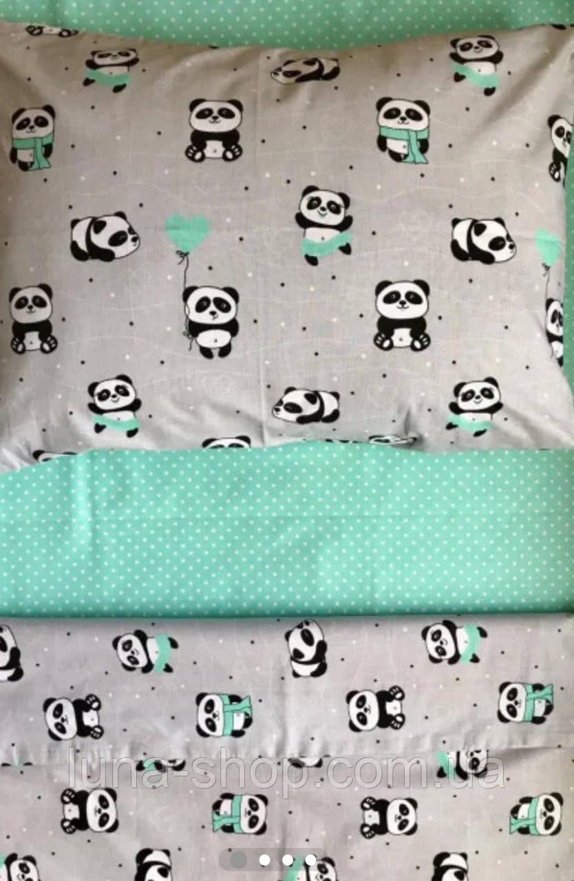 Полуторный  комплект Панда , бязь (хлопок)