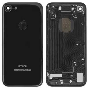 Корпус для iPhone 7, с держателем SIM-карты, с боковыми кнопками, черный, глянцевый